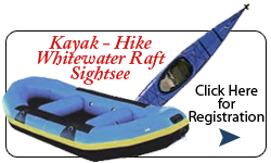 Kayak Hike Watewater Raft Sightsee